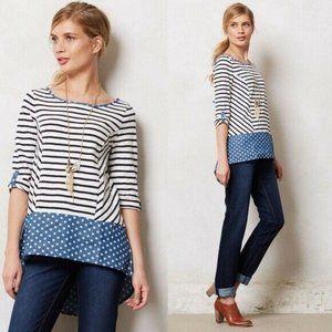 Anthro Postmark Fairley blue Striped polka dot top